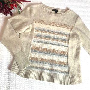 J. Crew Fair Isle Wool Cream Nordic Sweater